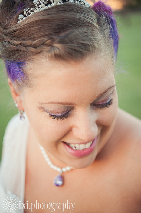 bride tiara purple hair