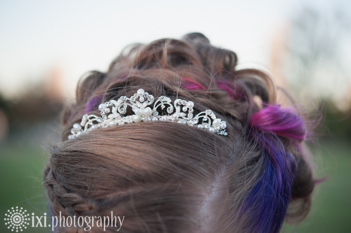 bride tiara purple and pink hair