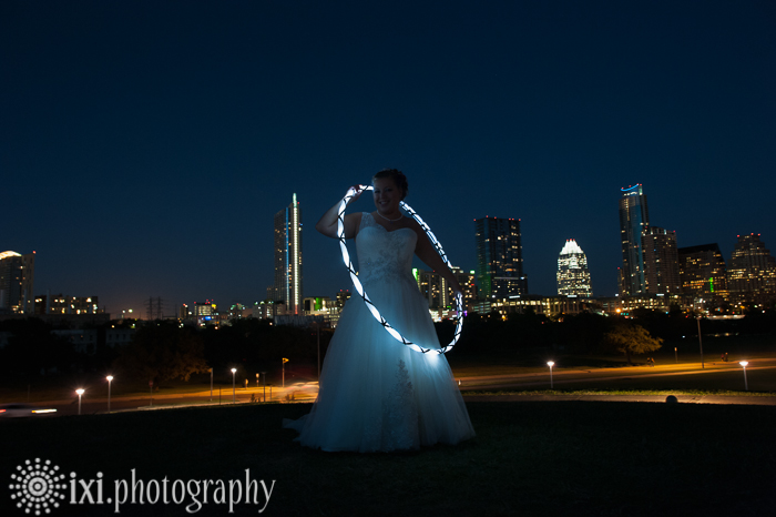 bridal portrait austin skyline at night