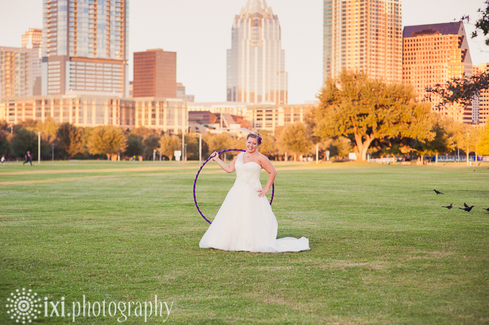 Bride hula hooping