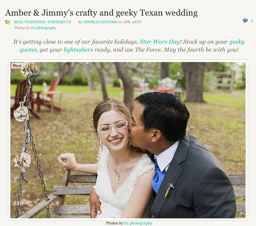 Amber and Jimmy's crafty and geeky Texan wedding